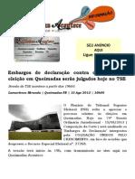 Embargos de declaração contra decisão sobre eleição em Queimadas serão julgados hoje no TSE