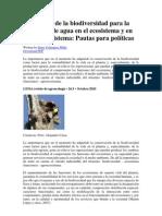 La función de la biodiversidad para la existencia de agua en el ecosistema y en el agroecosistema