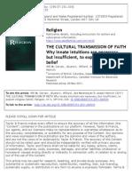 The Cultural Transmition of Faith