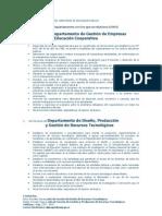 Funciones del Departamento de Gestión de Empresas y Educación Cooperativa
