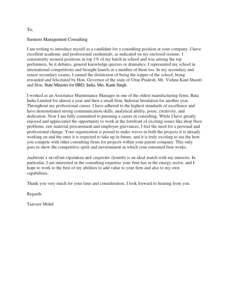 Cover Letter Management Consulting  Management Consulting Cover