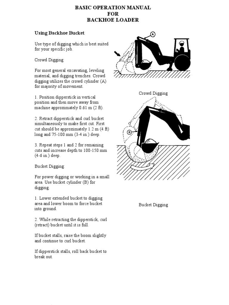 Backhoe Loader Basic Operation Manual Loader Equipment Truck