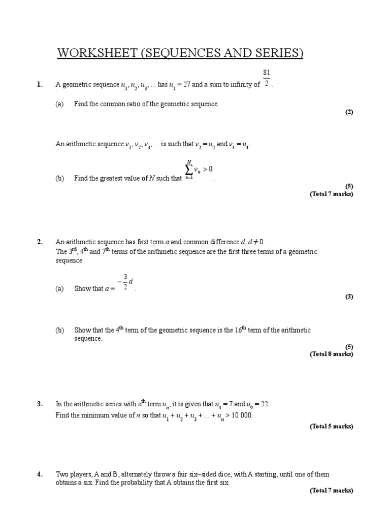 Arithmetic Sequences And Series Worksheet Healthfitnessbook – Arithmetic Sequence Worksheet Algebra 1