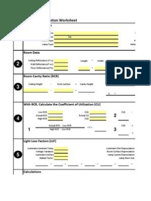 Lumen Method Worksheet Si v2 | Electrical Components