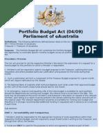 Portfolio Budget Act (04/09)