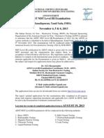 Announcement ASNT Mamallapuram Nov 2013