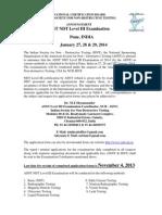 Announcement ASNT Pune Jan 2014