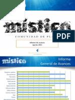 Informe Avance Mistico Agosto 2013