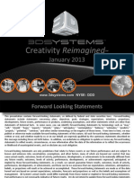 3D Systems Investor Presentation Jan 2013