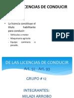 De Las Licencias de Conducir Art.92-93