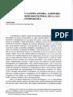 Fischler Claude- Gastronomía y Gastro anomia