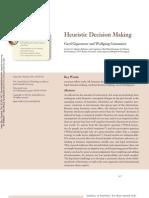 Gigerenzer & Gaissmaier (2011) Heuristic Decision Making