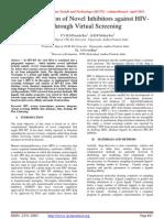 Identification of Novel Inhibitors against HIVRT through Virtual Screening