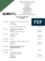 Schedule of Services-June,2009