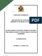 President Joyce Banda's Acceptance Speech at SADC Summit
