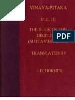 Horner I B Tr Book of the Discipline Vinaya Pitaka Vol III Suttavibhanga 512p