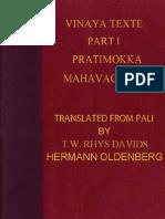 Rhys Davids Thomas William Oldenberg Hermann Tr Vinaya Texts Part I 444p