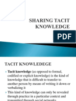 Sharing Tacit Knowledge