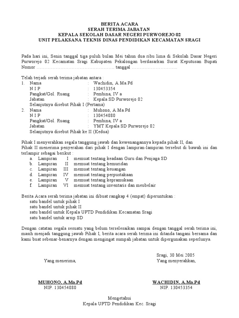 66 Berita Acara Serah Terima Jabatan