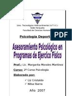 Asesoramiento Psicológico en Programas de Ejercicio Físico