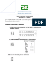Prueba Diagnóstica de Matemáticas DE Segundo Grado