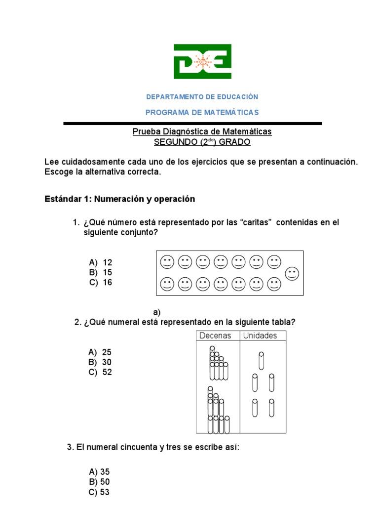 Asombroso Grado Hojas De Trabajo De La Prueba De Matemáticas 2 ...