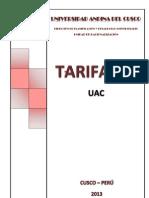 Tarifario Uac 2013