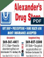 Alexander's Drugstore Advertisement