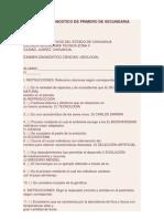 Examen de Diagnostico de Primero de Secundaria Biologia