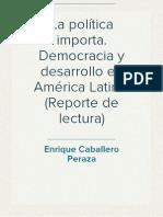 Reporte de lectura La política importa