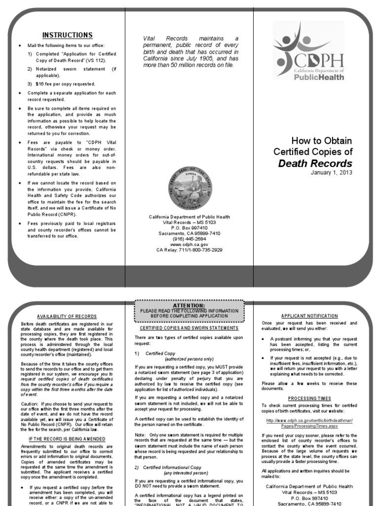 Death 2013 Notary Public California