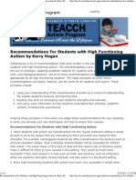(Recommendations For Students with High Functioning Autism by Kerry Hogan — TEACCH - UNC School of Medicine)