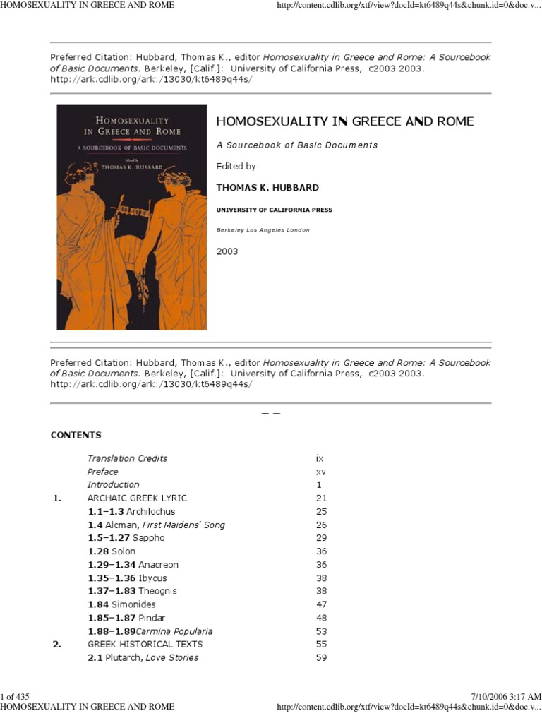 Homosexuality in Greece and Rome - a sourcebook of basic documents