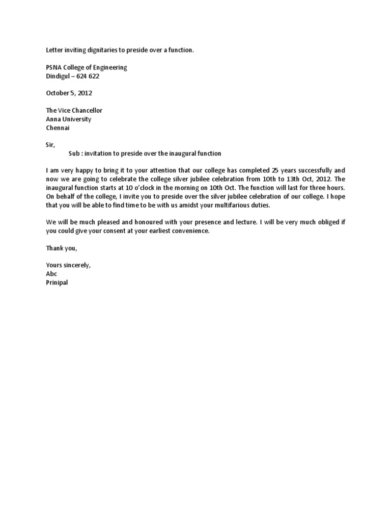 Letter letter inviting dignitaries to preside over a function spiritdancerdesigns Images
