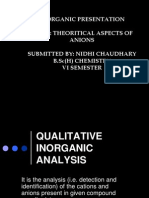 Qualitative Analysis of cations and anions