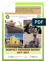 Monthly Progress Report for  July 2013