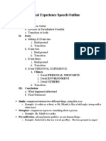 Personal Experience Speech Outline