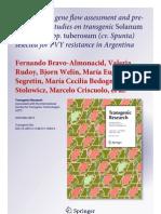 Field testing, gene flow assessment and pre-commercial studies on transgenic Solanum tuberosum spp. tuberosum (cv. Spunta) selected for PVY resistance in Argentina
