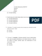 Disciplina de Corrosão - Lista de Exercícios