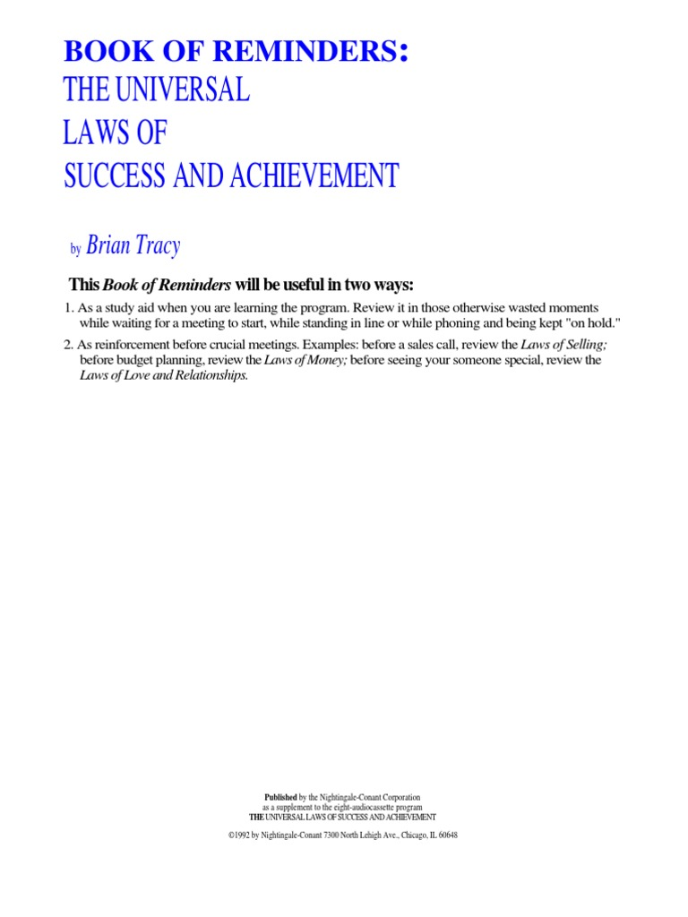 Brian Tracy - Universal Laws of Success and Achievement Book
