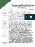 Full Gospel Lighthouse Church June 2009 Newsletter
