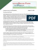 Shannon Brook Farm Newsletter 8-17-2013