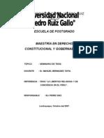 La Libertad Religiosa en la Constitución Política del Perú