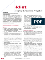 PV Cell Check List