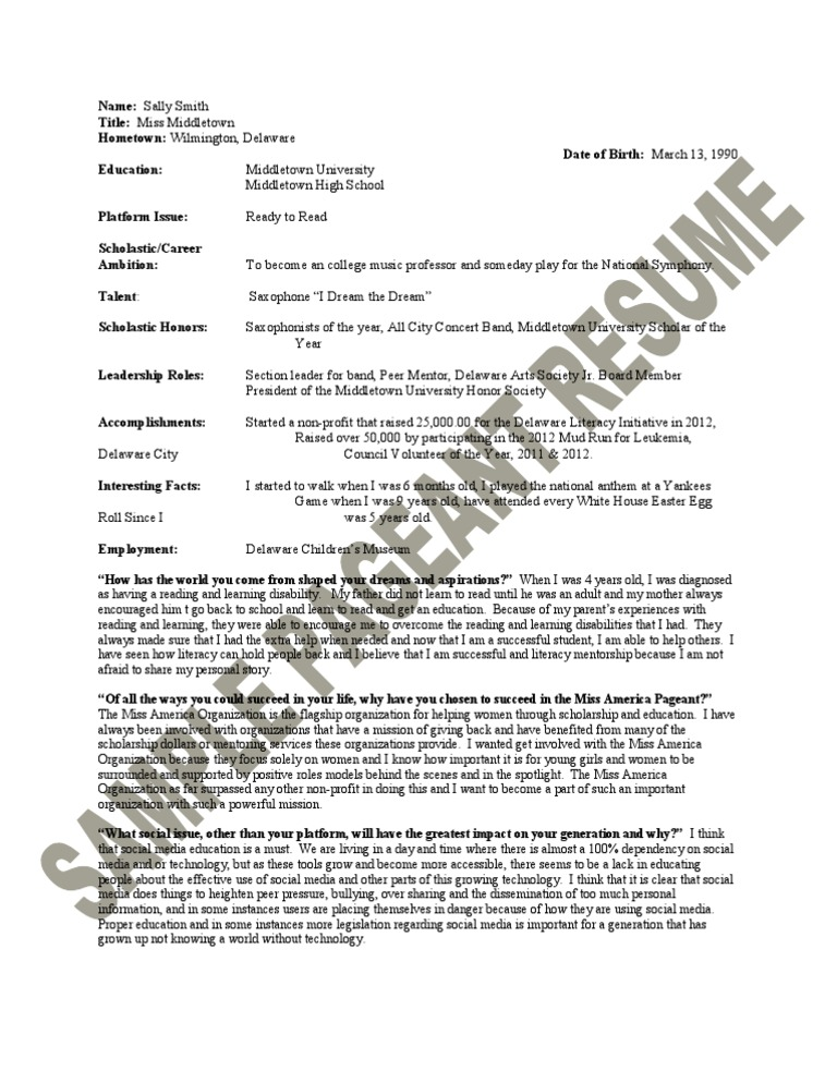 6  sample pageant resume