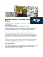Sharjah shops to Receive Solar Power Fridges