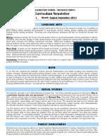 First Grade Curriculum Letter  Aug-Sept 2013