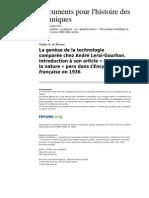 BEAUNE, Sophie A. de. Les origines de la Technologie Comparée chez Leroi-Gourhan