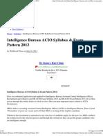 Intelligence Bureau ACIO Syllabus & Exam Pattern 2013