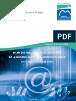 Rapport d'activité 2008.BILAN DES REALISATIONS DU MINISTERE DE LA MODERNISATION DES SECTEURS PUBLICS AU TITRE DE L'ANNEE 2008